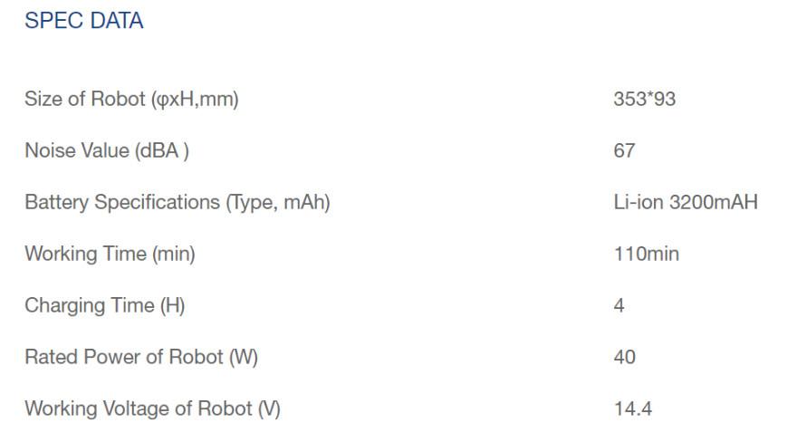 DEEBOT N8 spec data