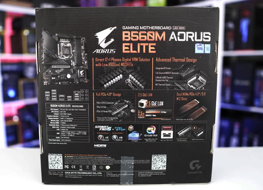 Gigabyte B560M AORUS ELITE Motherboard box back 1