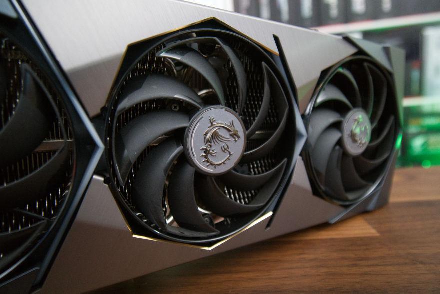 MSI GeForce RTX 3080 Ti SUPRIM X focus on middle fan