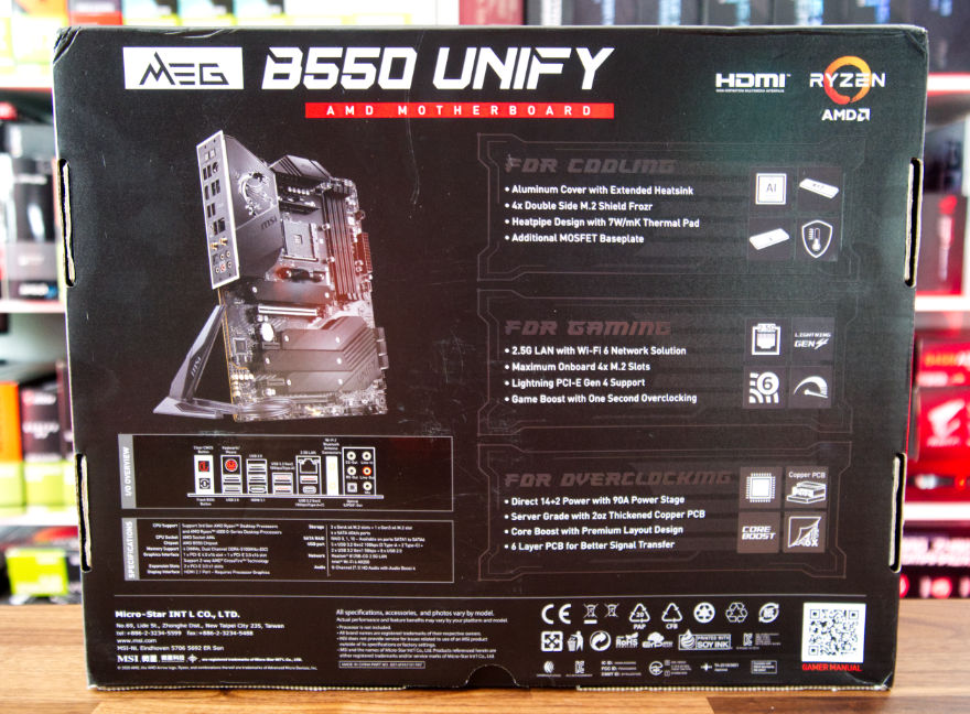 MSI MEG B550 UNIFY Motherboard box back