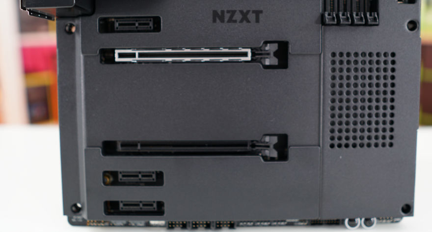 NZXT N7 Z590 Motherboard bottom half of motherboard with m2 shields on